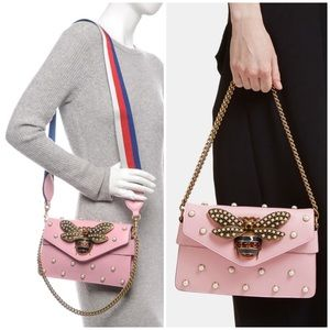 🆕💖GUCCI Calfskin Pearl Studded Broadway Bee Bag
